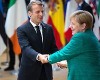 Emmanuel Macron & Angela Merkel at the EU summit meeting in Brussels - Belgium
