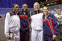 SAN ANTONIO, TX - APRIL 3: Nnemkadi Ogwumike, sister Cheney, Jayne Appel, and Sara James during the State Farm Coaches' All-America Team announcement on April 3, 2010 in San Antonio, Texas.