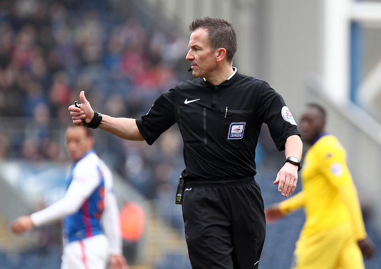 Referee Keith Stroud<br /> <br /> Photographer Rich Linley/CameraSport<br /> <br /> Football - The Football League Sky Bet Championship - Blackburn Rovers v Leeds United - Saturday 12th March 2016 - Ewood Park - Blackburn <br /> <br /> &copy; CameraSport - 43 Linden Ave. Countesthorpe. Leicester. England. LE8 5PG - Tel: +44 (0) 116 277 4147 - admin@camerasport.com - www.camerasport.com