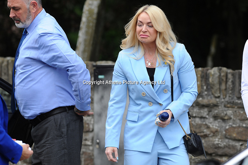 Pictured: Tatum Price Mother of Carson arrives for the funeral at Gelligaer Church, in Gelligaer, Wales, UK Tuesday 07 May 2019<br /> Re: Funeral of 13 year old Carson Price at Gelligaer Church, in Gelligaer, Wales, UK.<br /> Schoolboy Carson Price was found at a park in Ystrad Mynach, south Wales at the start of the Easter school holidays.<br /> It is believed he had taken MDMA Donkey Kong tablets.