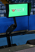 The VAR system and screen already in place alongside the Chelsea pitch should the referee need to view any incidents in the match during Chelsea vs Arsenal, Caraboa Cup Football at Stamford Bridge on 10th January 2018