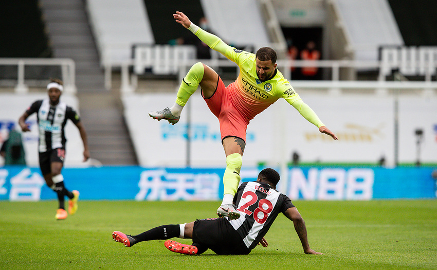 Manchester City's Kyle Walker is fouled by Newcastle United's Danny Rose<br /> <br /> Photographer Alex Dodd/CameraSport<br /> <br /> FA Cup Quarter-Final - Newcastle United v Manchester City - Sunday 28th June 2020 - St James' Park - Newcastle<br />  <br /> World Copyright © 2020 CameraSport. All rights reserved. 43 Linden Ave. Countesthorpe. Leicester. England. LE8 5PG - Tel: +44 (0) 116 277 4147 - admin@camerasport.com - www.camerasport.com