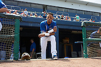 Biloxi Shuckers shortstop Orlando Arcia (2) looks out to the field before a game against the Birmingham Barons on May 24, 2015 at Joe Davis Stadium in Huntsville, Alabama.  Birmingham defeated Biloxi 6-4 as the Shuckers are playing all games on the road, or neutral sites like their former home in Huntsville, until the teams new stadium is completed in early June.  (Mike Janes/Four Seam Images)