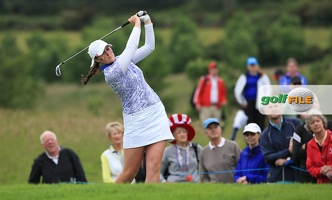 Olivia Mehaffey during the Sunday Singles at the 2016 Curtis Cup, played at Dun Laoghaire GC, Enniskerry, Co Wicklow, Ireland. 12/06/2016. Picture: David Lloyd | Golffile. <br /> <br /> All photo usage must display a mandatory copyright credit to &copy; Golffile | David Lloyd.