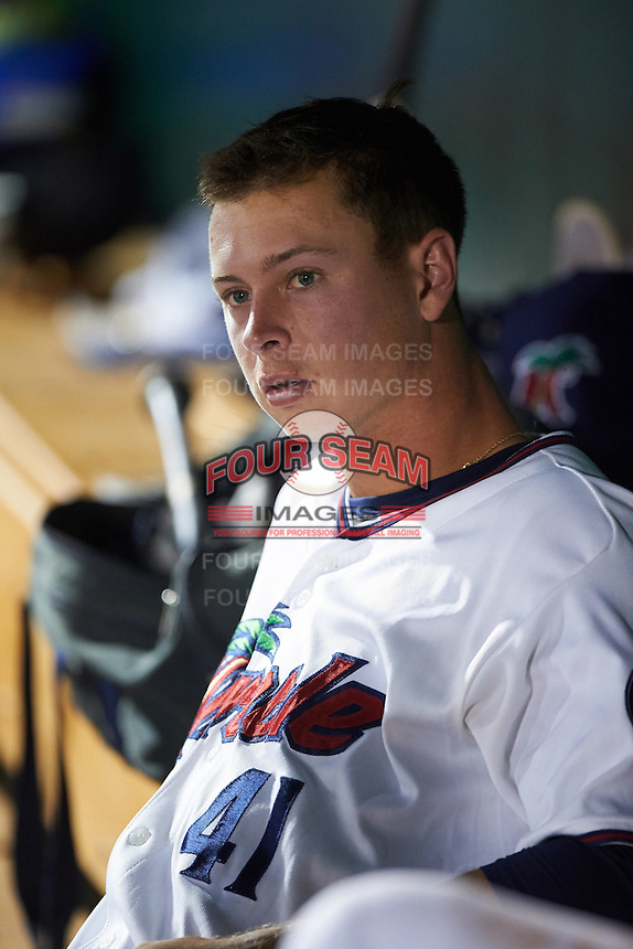 Fort Myers Miracle starting pitcher Stephen Gonsalves (41) in the dugout during a game against the Brevard County Manatees on April 13, 2016 at Hammond Stadium in Fort Myers, Florida.  Fort Myers defeated Brevard County 3-0.  (Mike Janes/Four Seam Images)