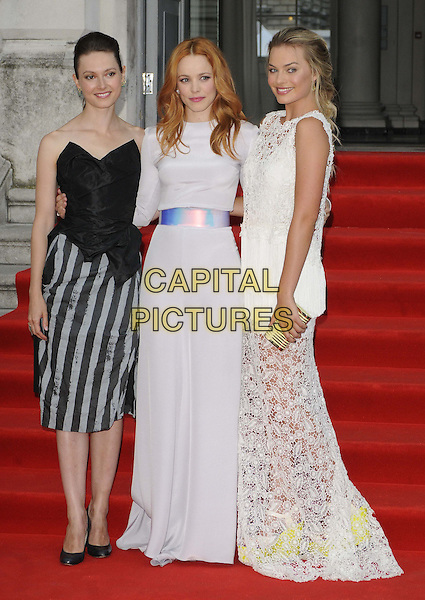 Lydia Wilson, Rachel McAdams &amp; Margot Robbie<br /> attended the &quot;About Time&quot; UK film premiere to open Somerset House's Film4 season of outdoor cinema, Somerset House, the Strand, London, England, UK, 8th August 2013.<br /> full length white long sleeve maxi dress silver belt waistband crochet lace  long maxi train black corset strapless top striped grey gray skirt <br /> CAP/CAN<br /> &copy;Can Nguyen/Capital Pictures