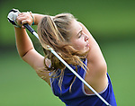 Avery McLaughlin of the Bellerive Country Club follows through after teeing off on the first day of the Metropolitan Amateur Golf Association's 20th Junior Amateur Championship being held at the St. Clair Country Club in Belleville, IL on July 1, 2019. <br /> Tim Vizer/Special to STLhighschoolsports.com