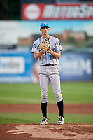 Hudson Valley Renegades starting pitcher Michael Mercado (16) gets ready to deliver a pitch during a game against the Connecticut Tigers on August 20, 2018 at Dodd Stadium in Norwich, Connecticut.  Hudson Valley defeated Connecticut 3-1.  (Mike Janes/Four Seam Images)