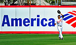 6 March 2009: Baltimore Orioles' outfielder Justin Christian (right) catches a fly ball during a Spring Training game against the Washington Nationals at Fort Lauderdale Stadium in Fort Lauderdale, Florida. The Orioles defeated the Nationals 6-2 in the Grapefruit League matchup. Mandatory Photo Credit: Ed Wolfstein Photo