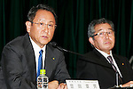 (L to R) Toyota Motor Corp. President and CEO Akio Toyoda and Executive Vice President Takahiko Ijichi speak during a press conference on May 11, 2016, Tokyo, Japan. Toyota Motor Corp. announced a record profit of 2.31 trillion yen ($21.3 billion) for its fiscal year ending on March 31. This was up 6.4% from the 2.17 trillion yen of the previous year, but the the giant carmaker cautioned that it expects a 35% drop in profits for the current fiscal year to 1.5 trillion yen. (Photo by Rodrigo Reyes Marin/AFLO)