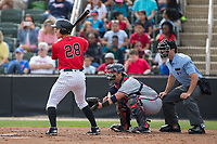 Grant Massey (28) of the Kannapolis Intimidators at bat against the Rome Braves at Kannapolis Intimidators Stadium on April 12, 2017 in Kannapolis, North Carolina.  The Braves defeated the Intimidators 4-3.  (Brian Westerholt/Four Seam Images)