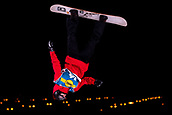 2nd December 2017, Moenchengladbach, Germany;  Michael Scharer from Switzerland jumping off the kicker during the men's finals of the Snowboard World Cup at the SparkassenPark in Moenchengladbach, Germany, 2 December 2017.