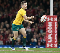 Australia's Bernard Foley gets the ball away<br /> <br /> Photographer Simon King/CameraSport<br /> <br /> International Rugby Union - 2017 Under Armour Series Autumn Internationals - Wales v Australia - Saturday 11th November 2017 - Principality Stadium - Cardiff<br /> <br /> World Copyright &copy; 2017 CameraSport. All rights reserved. 43 Linden Ave. Countesthorpe. Leicester. England. LE8 5PG - Tel: +44 (0) 116 277 4147 - admin@camerasport.com - www.camerasport.com