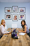 Kelly Sawyer Patricof and Norah Weinstein (brunette) pose for a portrait in the conference room at the Baby2Baby headquarters in Beverly Hills, California March 2, 2015.