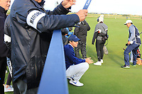 Rory McIlroy (NIR) giving a rest on the 17th tee during Round 3 of the Alfred Dunhill Links Championship 2019 at St. Andrews Golf CLub, Fife, Scotland. 28/09/2019.<br /> Picture Thos Caffrey / Golffile.ie<br /> <br /> All photo usage must carry mandatory copyright credit (© Golffile | Thos Caffrey)