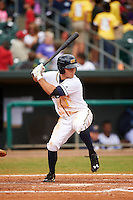 Montgomery Biscuits outfielder Johnny Field (1) at bat during a game against the Jackson Generals on April 29, 2015 at Riverwalk Stadium in Montgomery, Alabama.  Jackson defeated Montgomery 4-3.  (Mike Janes/Four Seam Images)