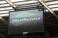 Sunday 09 November 2014 <br /> Pictured: #HearMyVoice on the giant screen<br /> Re: Barclays Premier League, Swansea City FC v Arsenal City at the Liberty Stadium, Swansea, Great Britain.