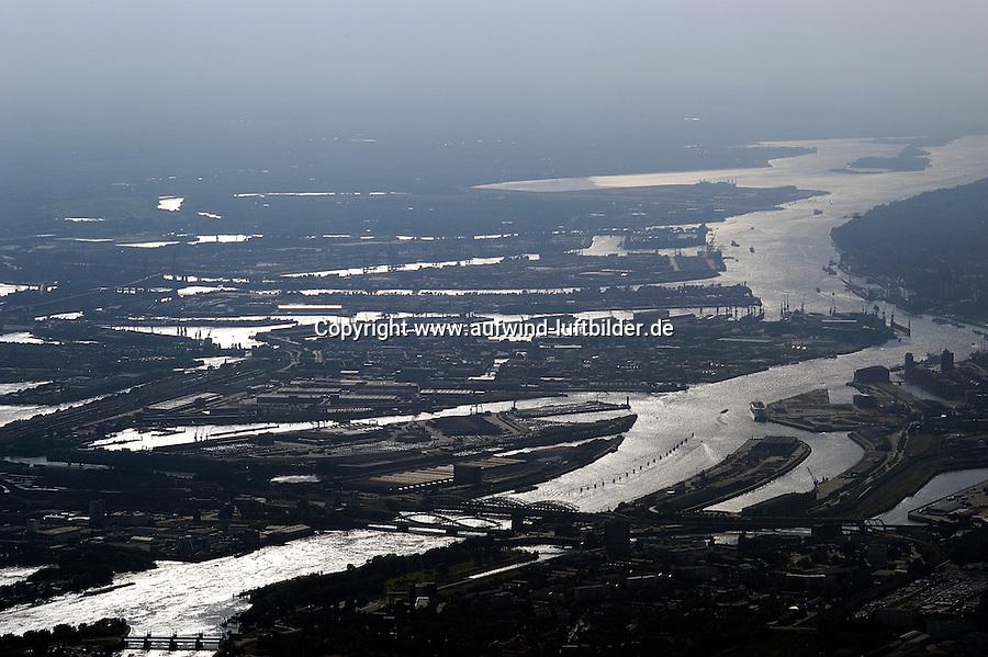 Deutschland, Hamburg, Hafen, Elbe, Hamburger Hafen von den Norderelbbrücken bis zum Muehlenberger Loch