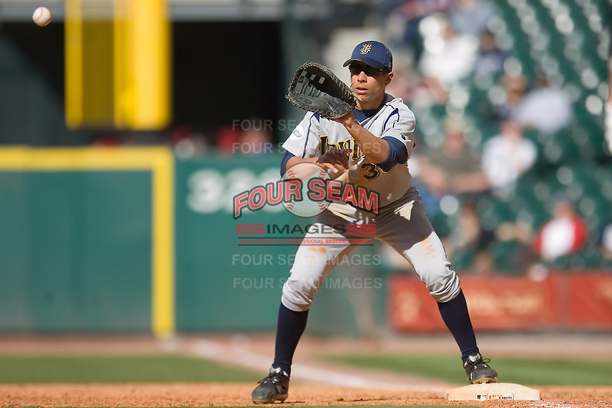 First baseman Ryan Fisher #36 of the UC-Irvine Anteaters waits for a throw versus the Houston Cougars in the 2009 Houston College Classic at Minute Maid Park February 28, 2009 in Houston, TX.  The Anteaters defeated the Cougars 13-7. (Photo by Brian Westerholt / Four Seam Images)