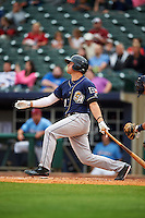 San Antonio Missions outfielder Hunter Renfroe (10) at bat during a game against the NW Arkansas Naturals on May 30, 2015 at Arvest Ballpark in Springdale, Arkansas.  San Antonio defeated NW Arkansas 5-2.  (Mike Janes/Four Seam Images)
