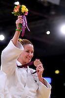 LONDRES, INGLATERRA, 31 AGOSTO 2012 - PARAOLIMPIADAS JUDO - A brasileira Daniele Bernardes conquistou, nesta sexta-feira, na ExCel Arena, a medalha de bronze na categoria até 63 kg do judô, ao derrotar a venezuelana Naomi Soazo, por ippon. Foi a segunda medalha brasileira na modalidade dos Jogos Olímpicos de Londres. (FOTO: GEORGINA GARCIA / BRAZIL PHOTO PRESS).