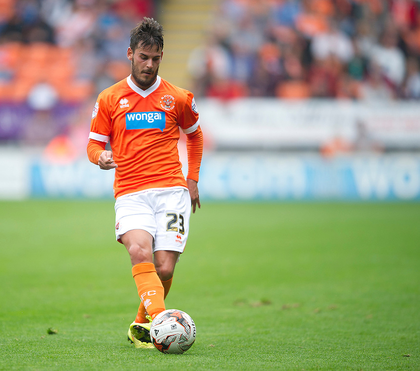 Blackpool's Edu Oriol<br /> <br /> Photographer Stephen White/CameraSport<br /> <br /> Football - The Football League Sky Bet Championship - Blackpool v Wolverhampton Wanderers - Saturday 13th September 2014 - Bloomfield Road - Blackpool<br /> <br /> &copy; CameraSport - 43 Linden Ave. Countesthorpe. Leicester. England. LE8 5PG - Tel: +44 (0) 116 277 4147 - admin@camerasport.com - www.camerasport.com