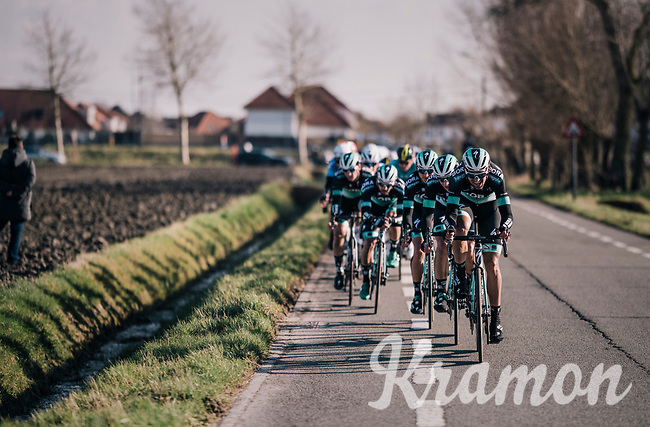 Team Bora-Hansgrohe taking to the front in the final kilometers<br /> <br /> Driedaagse Brugge-De Panne 2018<br /> Bruges - De Panne (202km)