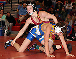 SIOUX FALLS, SD - DECEMBER 28:  Troy Kiggins from Roosevelt has control of John Lemer from Canton in their 126 pound championship match Saturday afternoon December 28, 2013 at Lincoln High School in Sioux Falls, South Dakota. (Photo by  Dave Eggen/Inertia)