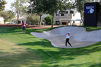 Shane Lowry (IRL) playing out of a bunker at the 11th green during the preview for the DP World Tour Championship at the Earth course,  Jumeirah Golf Estates in Dubai, UAE,  18/11/2015.<br /> Picture: Golffile | Thos Caffrey<br /> <br /> All photo usage must carry mandatory copyright credit (&copy; Golffile | Thos Caffrey)