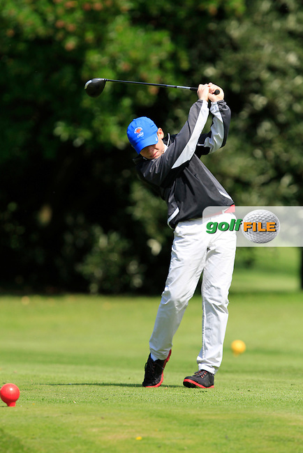 Thomas Stout (Royal Belfast) on the 11th tee during the Irish Boys Under 13 Amateur Open Championship in Malahide Golf Club on Monday 11th August 2014.<br /> Picture:  Thos Caffrey / www.golffile.ie