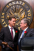 TALLAHASSEE, FLA. 11/18/14-ORGSESS111814CH-Senate President Andy Gardiner, R-Orlando, receives the gavel from out-going Senate President Don Gaetz, R-Niceville, during Organizational Session, Nov. 18, 2014 at the Capitol in Tallahassee.<br /> <br /> COLIN HACKLEY PHOTO