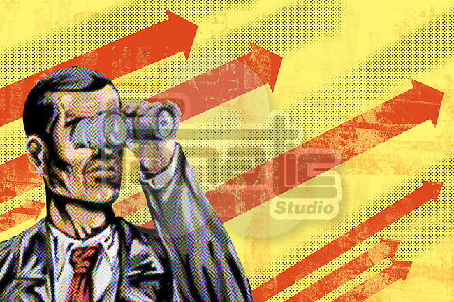 Conceptual illustration of man with binoculars and arrow sign in background depicting goal oriented businessman