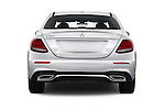 Straight rear view of 2017 Mercedes Benz E-Class E300 4 Door Sedan Rear View  stock images