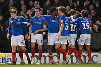 John Marquis of Portsmouth  (10)middle celebrates scoring the second goal during Portsmouth vs AFC Wimbledon, Sky Bet EFL League 1 Football at Fratton Park on 11th January 2020