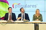 (L to R) Antonio Gonzalez Terol, Teodoro Garcia Egea, Pablo Casado, Ana Beltran and Isabel Garcia Tejerina during the General Council of Partido Popular. July 29, 2019. (ALTERPHOTOS/Francis González)