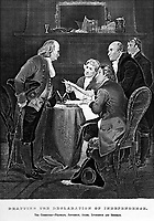 Drafting the Declaration of Independence.  The Committee - Franklin, Jefferson, Adams, Livingston and Sherman.  1776.  copy of engraving after Alonzo Chappel. (Bureau of Public Roads)<br />