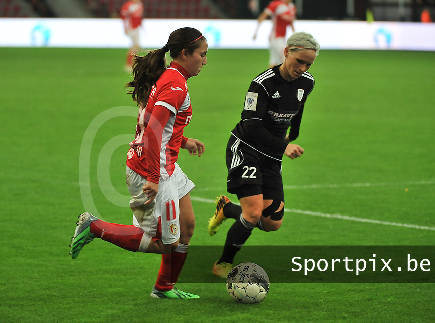 20131009 - LIEGE , BELGIUM : Standard's Vanity Lewerissa (left) pictured with Glasgow Jessica Fishlock (right) during the female soccer match between STANDARD Femina de Liege and  GLASGOW City LFC , in the 1/16 final ( round of 32 ) first leg in the UEFA Women's Champions League 2013 in stade maurice dufrasne - Sclessin in Liege. Wednesday 9 October 2013. PHOTO DAVID CATRY