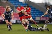 24th March 2018, AJ Bell Stadium, Salford, England; Aviva Premiership rugby, Sale Sharks versus Worcester Warriors; Ben Curry of Sale Sharks tackles Will Spencer of Worcester Warriors