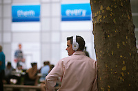 Music listeners wear their Beats by Dr. Dre headphones in New York on Wednesday, July 24, 2012 (© Richard B. Levine)