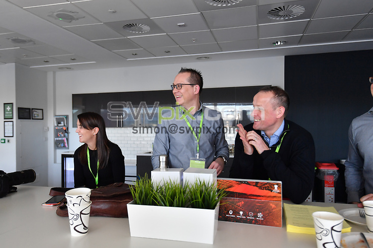 Picture by Simon Wilkinson/SWpix.com - 28/01/2019 - RLWC 2021 Rugby League World Cup Host City Reveal BBC Match of the Day Studio - Dock 10 Media City Salford<br /> - Jon Dutton and Stephen Brown Kevin Sinfield, Jon Dutton , James Simpson Jodie Cunningham