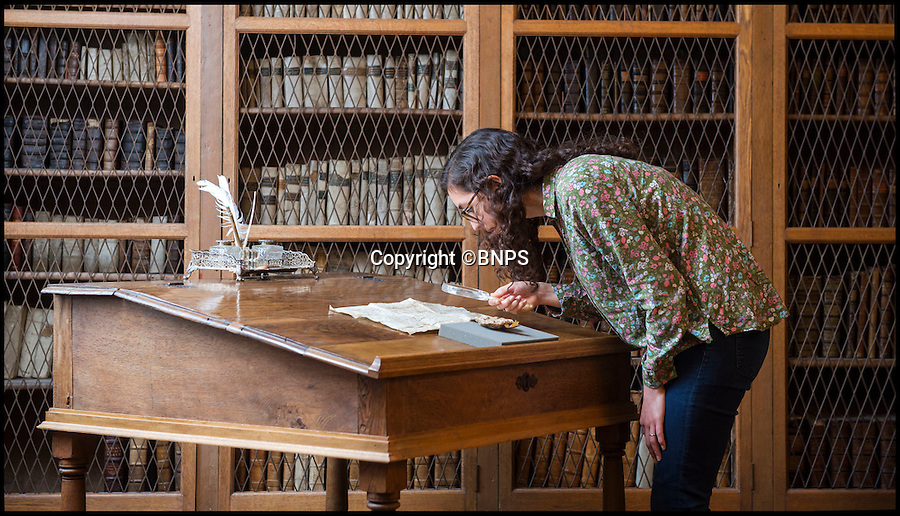 BNPS.co.uk (01202 558833)<br /> Pic: PhilYeomans/BNPS<br /> <br /> Latin scholar Helen Sumping(27) at work in the 1st floor library above the cloisters at Salisbury - built in 1445, and presented with 30 oak trees by Henry VI to build the shelves.<br /> <br /> Latin scholar unearths ecclesiastical treasure's from the vault.<br /> <br /> Salisbury cathedral has recruited a new latin expert to decipher its precious collection of historic manuscripts which have remained unexamined for decades.<br /> <br /> Helen Sumping, 27, is working her way through thousands of documents that date back as far as 1136 at Salisbury Cathedral in Wiltshire, to uncover the secrets of the famous landmark.<br /> <br /> While some of the most important papers have had brief summaries written before, many of the documents have not been touched for centuries due to the difficulty of reading the handwritten script.<br /> <br /> The entire archive has not been worked on since the 1930s and Helen is now delving into the past to catalogue papers up to 880 years old and make the collection more accessible to the public.