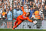 James McKeown of Grimsby Town gets his fingers tips to a penalty in the shoot out but can't prevent Bristol Rovers from scoring during the 2015 Vanarama Conference Promotion Final match between Grimsby Town and Bristol Rovers at Wembley Stadium, London<br /> Picture by David Horn/eXtreme aperture photography +44 7545 970036<br /> 17/05/2015