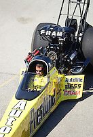 Sept. 29, 2012; Madison, IL, USA: NHRA top fuel dragster driver Spencer Massey during qualifying for the Midwest Nationals at Gateway Motorsports Park. Mandatory Credit: Mark J. Rebilas-