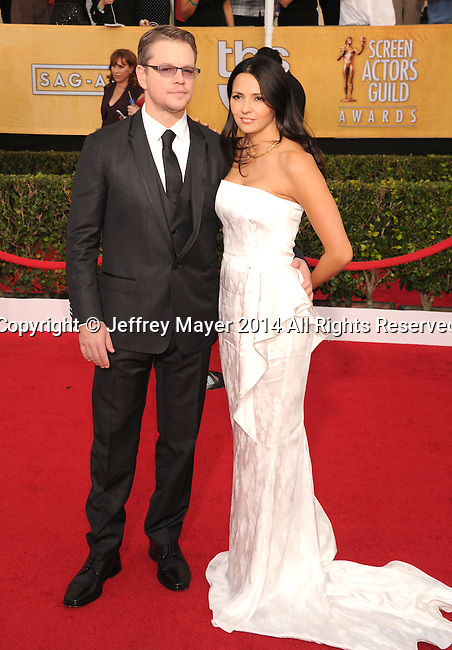 LOS ANGELES, CA- JANUARY 18: Actor Matt Damon and wife Luciana Barroso arrive at the 20th Annual Screen Actors Guild Awards at The Shrine Auditorium on January 18, 2014 in Los Angeles, California.