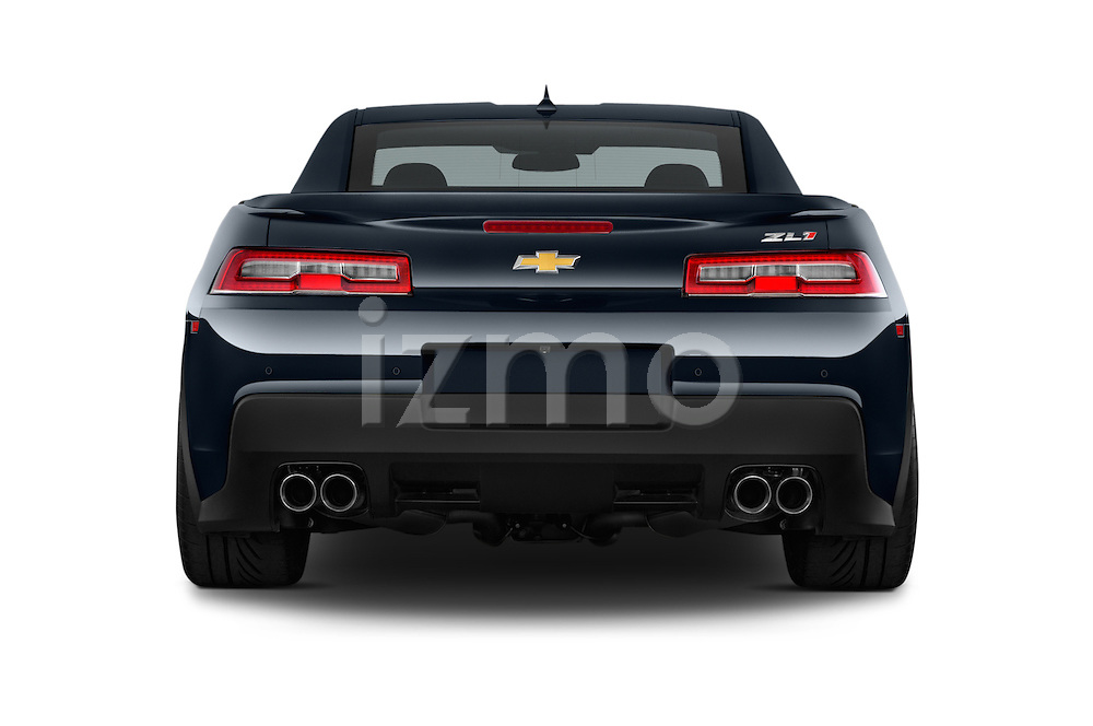 Straight rear view of a 2015 Chevrolet Camaro ZL1 Coupe 2 Door  Rear View  stock images