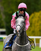 Chalky ridden by Jack Mitchell goes down to the start of the Sorvio Insurance Maiden Fillies' Stakes, during Afternoon Racing at Salisbury Racecourse on 7th August 2017