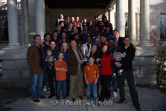 team with utah governor gary herbert. Celebration for Real Salt Lake's MLS Cup win Tuesday, November 24 2009.
