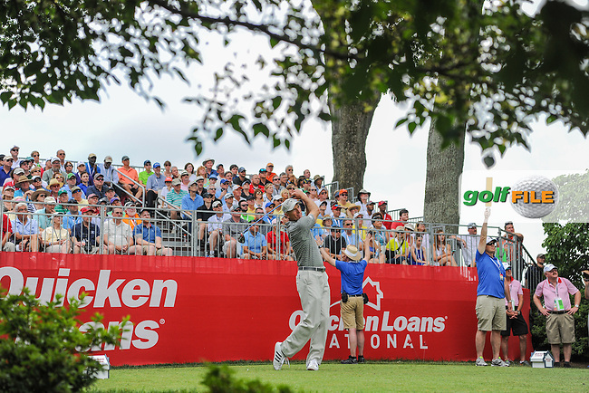 Jim Furyk (USA) watches his tee shot on 1 during round 2 of the 2016 Quicken Loans National, Congressional Country Club, Bethesda, Maryland, USA. 6/24/2016.<br /> Picture: Golffile | Ken Murray<br /> <br /> <br /> All photo usage must carry mandatory copyright credit (&copy; Golffile | Ken Murray)