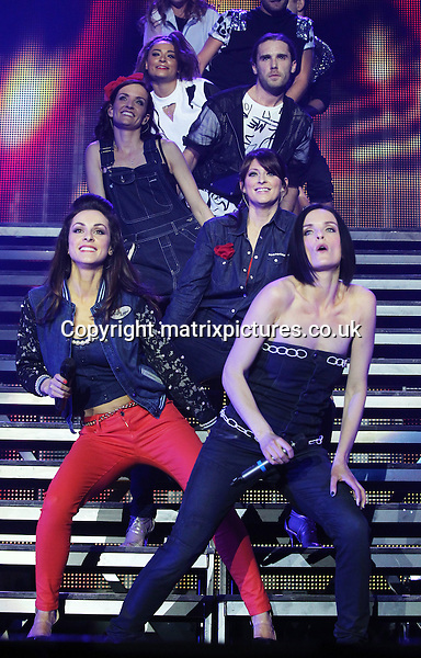 """EXCLUSIVE PICTURE: TREVOR ADAMS / MATRIXPICTURES.CO.UK.PLEASE CREDIT ALL USES..WORLD RIGHTS..Irish pop girl-group B*Witched are pictured performing live onstage as part of The Big Reunion concert tour opening night at the Motorpoint Arena in Sheffield...The tour is the culmination of British reality-documentary series """"The Big Reunion"""" that saw several pop groups, who were big names in the mid-to-late 90's, in intensive rehearsals leading up to the event...MAY 3rd 2013..REF: MTX 132970"""