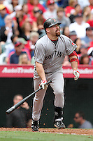 Kevin Youkilis #20 of the Boston Red Sox bats against the Los Angeles Angels at Angel Stadium in Anaheim, California on April 24, 2011. Photo by Larry Goren/Four Seam Images